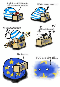 Merry Christan -Bird: A gift from EU? Must be  real Christmas Miracle!  NYEEEALAAKKK!  No, Greece.  SKATA!!! ITS EMPTY!?  This gift is worst!  YUO are the gift... Merry Christan -Bird