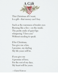 """Money Cant Buy: A Gift  This Christmas all I want,  Is a gift- that money can't buy  Such as the warmness of tender eves  Burning like a fire-on the inside  The pretty smile of quiet lips  whispering """"I love you""""  Without needing to speak.  If for Christmas,  You give me a kiss.  I promise, my darling  My life yours will be  If you give me  A promise of love  For the rest of my days,  My heart will be yours.  Clairel Estevez"""