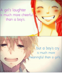 True   Kyou-chan as Carlo-kun: A girl's laughter  is much more cheerful  than a boy's  but a boy's cry  is much more  meaningful than a girl's  LOKUN True   Kyou-chan as Carlo-kun