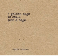 Stl, Cage, and Just: A golden cage  1s Stl.  just a cage.  Anita Krizzan-