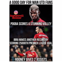 Tag a ManUtd fan! 👆⚽️: A GOOD DAY FOR MAN UTD FANS  Instat roll  Soccer  POGBA SCORES A STUNNING VOLLEY  IBRA MAKES ANOTHER RECORD BY  SCORING 25000TH PREMIER LEAGUE GOAL  ROONEY GIVES 2 ASSISTS Tag a ManUtd fan! 👆⚽️