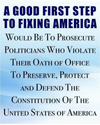 violate: A GOOD FIRST STEP  TO FIXING AMERICA  WOULD BE To PROSECUTE  POLITICIANS WHo VIOLATE  THEIR OATH OF OFFICE  To PRESERVE, PROTECT  AND DEFEND THE  CONSTITUTION OF THE  UNITED STATES OF AMERICA