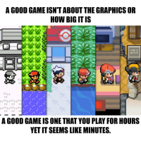 So true.: A GOOD GAME ISN TABOUT THE GRAPHICS OR  HOW BIG ITIS  I I I II  A GOOD GAME IS ONE THAT YOUPLAY FOR HOURS  YETITSEEMS LIKE MINUTES. So true.
