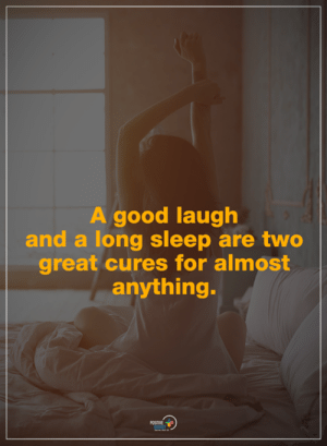 Memes, Good, and Sleep: A good laugh  and a long sleep are two  great cures for almost  anything.