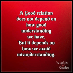 Blog, Good, and Inbox: A Good relation  does not depend on  bow good  understanding  we bave,  But it depends on  how we avoið  misunderstanding.  Wisdom  Quotes Visit and subscribe to our blog! Get enriching & uplifting quotes right in your inbox: www.wisdomquotesandstories.com