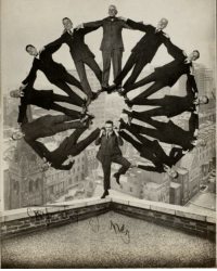 A group of Wall Street Investment Bankers moments before jumping off a building during the Stock Market Crash of 1929.: A group of Wall Street Investment Bankers moments before jumping off a building during the Stock Market Crash of 1929.