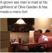 Ass, Bruh, and Funny: A grown ass man is mad at his  girlfriend at Olive Garden & has  made a menu fort bruh 