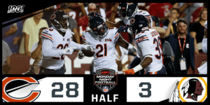 HALFTIME  #Bears100 28 #HTTR 3  ?: #CHIvsWAS on ESPN ?: NFL app // Yahoo Sports app  Watch free on mobile:https://t.co/dqc4mvrsu3 https://t.co/HJyD1Gtxef: A  GSH  21  28  MONDAY  NIGHT  FOOTBALL  3  INFL HALFTIME  #Bears100 28 #HTTR 3  ?: #CHIvsWAS on ESPN ?: NFL app // Yahoo Sports app  Watch free on mobile:https://t.co/dqc4mvrsu3 https://t.co/HJyD1Gtxef