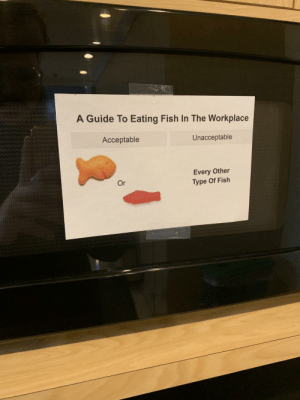 Only Gold and Swedish fish are acceptable in the workplace: A Guide To Eating Fish In The Workplace  Acceptable  Unacceptable  Every Other  Type Of Fish  Or Only Gold and Swedish fish are acceptable in the workplace