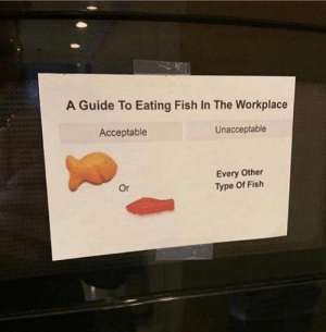 Workplace: A Guide To Eating Fish In The Workplace  Acceptable  Unacceptable  Every Other  Type Of Fish  Or
