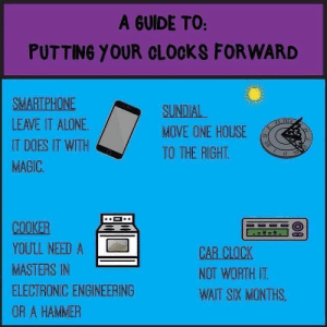 Being Alone, Clock, and Funny: A GUIDE TO:  PUTTING YOUR CLOCKS FORWARD  SMARTPHONE  LEAVE IT ALONE  IT DOES IT WITH  MAGIC  SUNDIAL  MOVE ONE HOUSE  TO THE RIGHT.  COOKER  YOULL NEED A  MASTERS IN  ELECTRONIC ENGINEERING  OR A HAMMER  CAR CLOCK  NOT WORTH IT  WAIT SIX MONTHS Spring Forward! Or Sideways!