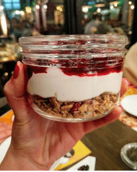 Memes, 🤖, and Light: A guiltless treat like no other, the cheesecake in a jar from the new light menu @Crepaway. ComeAsYouAre Dial1595