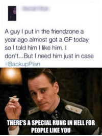 Friendzone: A guy put in the friendzone a  year ago almost got a GF today  so I told him I like him. I  don't...But I need him just in case  Backup Plan  THERESA SPECIAL RUNG IN HELLFOR  PEOPLE LIKE YOU