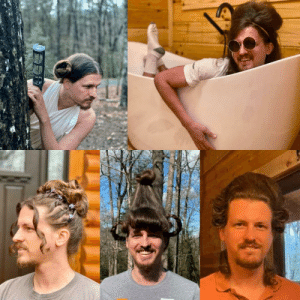 A hairstylist friend of mine is doing her boyfriend's hair each day they are quarantined! So far we have Leia, Amy Winehouse, 90's prom, Cindy Lou Who, and George Washington.: A hairstylist friend of mine is doing her boyfriend's hair each day they are quarantined! So far we have Leia, Amy Winehouse, 90's prom, Cindy Lou Who, and George Washington.