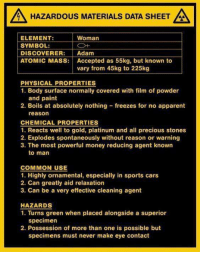 ~Beast~: A HAZARDOUS MATERIALS DATA SHEET  LA  Woman  ELEMENT:  SYMBOL:  DISCOVERER  Adam  ATOMIC MASS: Accepted as 55kg, but known to  vary from 45kg to 225kg  PHYSICAL PROPERTIES  1. Body surface normally covered with film of powder  and paint  2. Boils at absolutely nothing freezes for no apparent  reason  CHEMICAL PROPERTIES  1. Reacts well to gold, platinum and all precious stones  2. Explodes spontaneously without reason or warning  3. The most powerful money reducing agent known  to man  COMMON USE  1. Highly ornamental, especially in sports cars  2. Can greatly aid relaxation  3. Can be a very effective cleaning agent  HAZARDS  1. Turns green when placed alongside a superior  specimen  2. Possession of more than one is possible but  specimens must never make eye contact ~Beast~