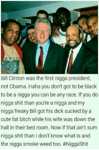 LMAAAOOO BRUHHH 😂😂😂😂😂: A HEAL  Bill Clinton was the first nigga president,  not Obama. Haha you don't got to be black  to be a nigga you can be any race. If you do  nigga shit than you're a nigga and my  nigga freaky Bill got his dick sucked by a  cute fat bitch while his wife was down the  hall in their bed room. Now if that ain't sum  nigga shit than don't know what is and  the nigga smoke  weed too. LMAAAOOO BRUHHH 😂😂😂😂😂
