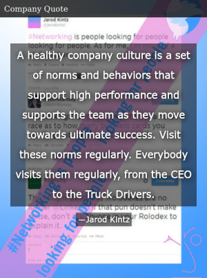 SIZZLE: A healthy company culture is a set of norms and behaviors that support high performance and supports the team as they move towards ultimate success. Visit these norms regularly. Everybody visits them regularly, from the CEO to the Truck Drivers.