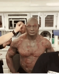 Makeup, Memes, and True: a Here's a quick time lapse video of @davebautista getting his Drax makeup done! 👏🏻 Shows true dedication! Hopefully they watch his nipples... 😂 ---- Via @comicbookhq