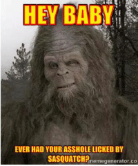 ~Beast~: A  HEY BABY  EVER HAD YOURASSHOLELICKED BY  SASQUATCH?  memegenerator.co ~Beast~