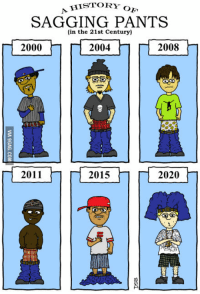 pantsed: A HISTORY  OF  SAGGING PANTS  (in the 21st Century)  2008  2000  2004  2011  2015  2020