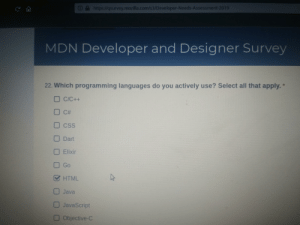 Java, All That, and Programming: A https://qsurvey.mozilla.com/s3/Developer-Needs-Assessment-2019  MDN Developer and Designer Survey  22. Which programming languages do you actively use? Select all that apply.  t  C/C++  C#  CSS  Dart  Elixir  Go  HTML  Java  JavaScript  Objective-C I'm glad they included my no. 1 programming language