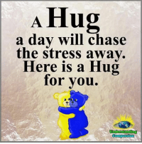 Memes, Chase, and Compassion: A Hug  a dav will chase  the stress awav.  Here is a Hug  for vou  오(t  connpassion Understanding Compassion Group ❤️