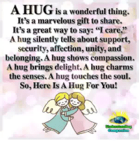 "Memes, Unity, and Marvelous: A HUG  is a wonderful thing.  It's a marvelous gift to share.  It's a great way to say: ""I care,  A hug silently tells about support,  security, affection, unity, and  belonging. A hug shows compassion  A hug brings delight. A hug charms  the senses. A hug touches the soul.  So, Here Is A Hug For You! Understanding Compassion ❤️  Hugging Is A Silent Way Of Saying, 'You Matter To Me' ❤️"