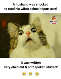 shocked: A husband was shocked  to read his wife's school report card  LAUGHING  Colowrs  It was written  'very obedient & soft spoken student'