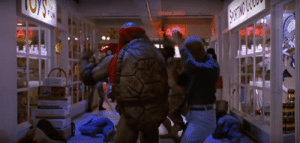In Teenage Mutant Ninja Turtles II: Secret of the Ooze (1991), there's scars on Raphael's shell, showing how much more aggressive he is compared to his brothers.: A' In Teenage Mutant Ninja Turtles II: Secret of the Ooze (1991), there's scars on Raphael's shell, showing how much more aggressive he is compared to his brothers.