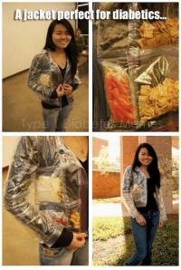 """<p>  So I stumbled across this photo.. so many possibilities! <br/><a href=""""http://laughingsquid.com/crafter-makes-a-ziploc-bag-jacket-fills-it-with-a-sandwich-snacks/"""">http://laughingsquid.com/crafter-makes-a-ziploc-bag-jacket-fills-it-with-a-sandwich-snacks/</a>  <br/></p>: A jacketperfect for diabetics <p>  So I stumbled across this photo.. so many possibilities! <br/><a href=""""http://laughingsquid.com/crafter-makes-a-ziploc-bag-jacket-fills-it-with-a-sandwich-snacks/"""">http://laughingsquid.com/crafter-makes-a-ziploc-bag-jacket-fills-it-with-a-sandwich-snacks/</a>  <br/></p>"""