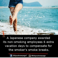 A Japanese Company Awarded Its Non Sm Ng Employees 6 Extra Vacation Days To Compensate For The Smokers Smoke Breaks Fdidyouknowpageldidyouknowpage