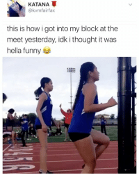 """""""I follow @kalesalad and u should too"""" - Kendall Jenner and Jesus: A KATANA  @kvm fairfax  this is how i got into my block at the  meet yesterday, idk i thought it was  hella funny """"I follow @kalesalad and u should too"""" - Kendall Jenner and Jesus"""