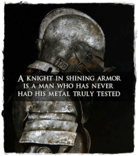 Never, Metal, and Who: A KNIGHT IN SHINING ARMOR  IS A MAN WHO HAS NEVER  HAD HIS METAL TRULY TESTED <p>A Knight In Shining Armor.</p>