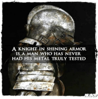 Memes, Test, and Never: A KNIGHT IN SHINING ARMOR  IS A MAN WHO HAS NEVER.  HAD HIS METAL TRULY TESTED Myster
