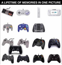 Memes, Nintendo, and Lifetime: A LIFETIME OF MEMORIES IN ONE PICTURE  Wii  @TCMFGames For the people harassing me about Nintendo not being included in the other controller picture 😂😂 here you go ♥️