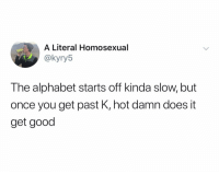 Alphabet, Good, and Dank Memes: A Literal Homosexual  @kyry5  The alphabet starts off kinda slow, but  once you get past K, hot damn does it  get good (@kyry5) ELEMENOPEE AYEEEE