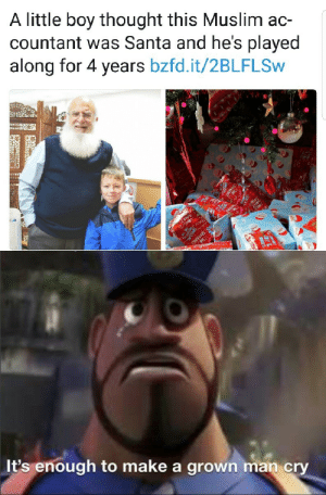 Beard, Muslim, and Santa: A little boy thought this Muslim ac-  countant was Santa and he's played  along for 4 years bzfd.it/2BLFLSW  NOVHS  It's enough to make a grown man cry His beard is absolutely legendary