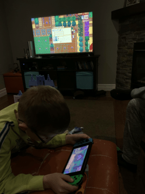 A little dad/son bonding time. The little one has 53 hours, the big one has 235. We ended up buying the game for 2 systems because no one wanted to wait to play.: A little dad/son bonding time. The little one has 53 hours, the big one has 235. We ended up buying the game for 2 systems because no one wanted to wait to play.
