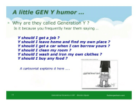 Clothes, Food, and Home: A little GEN Y humor  Why are they called Generation Y?  Is it because you frequently hear them saying.  Y should I get a job?  Y should I leave home and find my own place?  Y should I get a car when I can borrow yours?  Y should I clean my room?  Y should I wash and iron my own clothes?  Y should I buy any food?  A cartoonist explains it here  GENERATION  1t  Generationsl Dynamics n SM -Brenda Iniguez  fruitionpartners.com