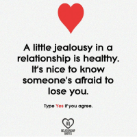 relationship quotes: A little jealousy in a  relationship is healthy.  It's nice to know  someone's afraid to  lose you  Type Yes if you agree  RELATIONSHIP  QUOTES