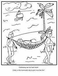 A ll I  Colonizing can be hard work!  Color in this hammock ride to join in on the fun! Happy Columbus Day! Celebrate with this CAFE classic, our Columbus Day coloring book!