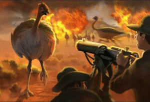A lone Australian gun crew holds off endless hordes of Emus in a valiant last stand of the final days of the Emu war (1932 colorized): A lone Australian gun crew holds off endless hordes of Emus in a valiant last stand of the final days of the Emu war (1932 colorized)