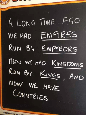 A long time ago: A LONG TIME AGO  WE HAD EMPIRES  RUN BY EMPERORS  THEN WE HAD KINGDOMS  RUN BY KINGS AND  NOW WE HAVE  COUNTRIES  BREWED BY THF  RO A long time ago