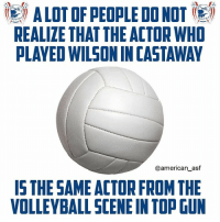 Fun fact of the day!: ( A LOT OF PEOPLE DO NOT (e)  REALIZE THAT THE ACTOR WHO  PLAYED WILSON IN CASTAWAY  @american_asf  IS THE SAME ACTOR FROM THE  VOLLEYBALL SCENE IN TOP GUN Fun fact of the day!