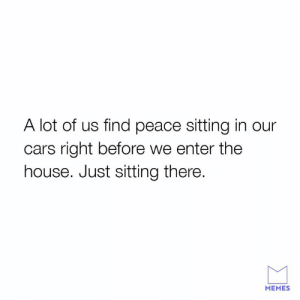 Weird but true.: A lot of us find peace sitting in our  cars right before we enter the  house. Just sitting there.  MEMES Weird but true.