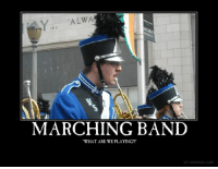 """""""A LWA  IN C  MARCHING BAND  """"WHAT ARE WE PLAYING?!  DTY, DESPAIR, COM I miss Marching Band.  But you know these looks happen during concert band too xD  ~ Oboelutist"""