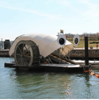 "A MACHINE HAS REMOVED 1 MILLION POUNDS OF TRASH FROM A RIVER IN BALTIMORE. Thanks @News for sharing this wonderful story with us. Baltimore's Inner Harbor Water Wheel has removed more than one million pounds of garbage from the Jones Falls River since it was launched in 2014. The water current provides power to turn the wheel, which lifts trash and debris from the water and deposits it into a dumpster barge. If there isn't enough water current, a solar panel array provides additional power to keep it running. When the dumpster is full, it's towed away by a boat, and then a new dumpster is put in place. Locals have nicknamed the machine, ""Mr. Trash Wheel."": A MACHINE HAS REMOVED 1 MILLION POUNDS OF TRASH FROM A RIVER IN BALTIMORE. Thanks @News for sharing this wonderful story with us. Baltimore's Inner Harbor Water Wheel has removed more than one million pounds of garbage from the Jones Falls River since it was launched in 2014. The water current provides power to turn the wheel, which lifts trash and debris from the water and deposits it into a dumpster barge. If there isn't enough water current, a solar panel array provides additional power to keep it running. When the dumpster is full, it's towed away by a boat, and then a new dumpster is put in place. Locals have nicknamed the machine, ""Mr. Trash Wheel."""