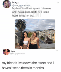 Friends, Goals, and Memes: A Magz.  @maggymerms  My bestfriend lives a plane ride away  and I hate planes. l'd still fly a trillion  hours to see her tho.  Katy  @katyspareme  my friends live down the street and I  haven't seen them in months Goals