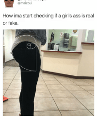 Memes, 🤖, and Ima: (a maizou  How ima start checking if a girl's ass is real  or fake Gotta see if that ass is naturally occurring 😂🍑 fibonaccibooty . . Follow @hoedity (me) for more 💣💥