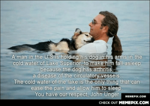Dogs are men's best friendomg-humor.tumblr.com: A man in the U.S is holding his dog in his arms in the  cold water of Lake Superior, to make him fall asleep  because the dog has arthritis,  a disease of the circulatory vessels.  The cold water of the lake is the only thing that can  ease the pain and allow him to sleep.  You have our respect, John Unger  МЕМЕРIХ.Сом  CHECK OUT MEMEPIX.COM Dogs are men's best friendomg-humor.tumblr.com